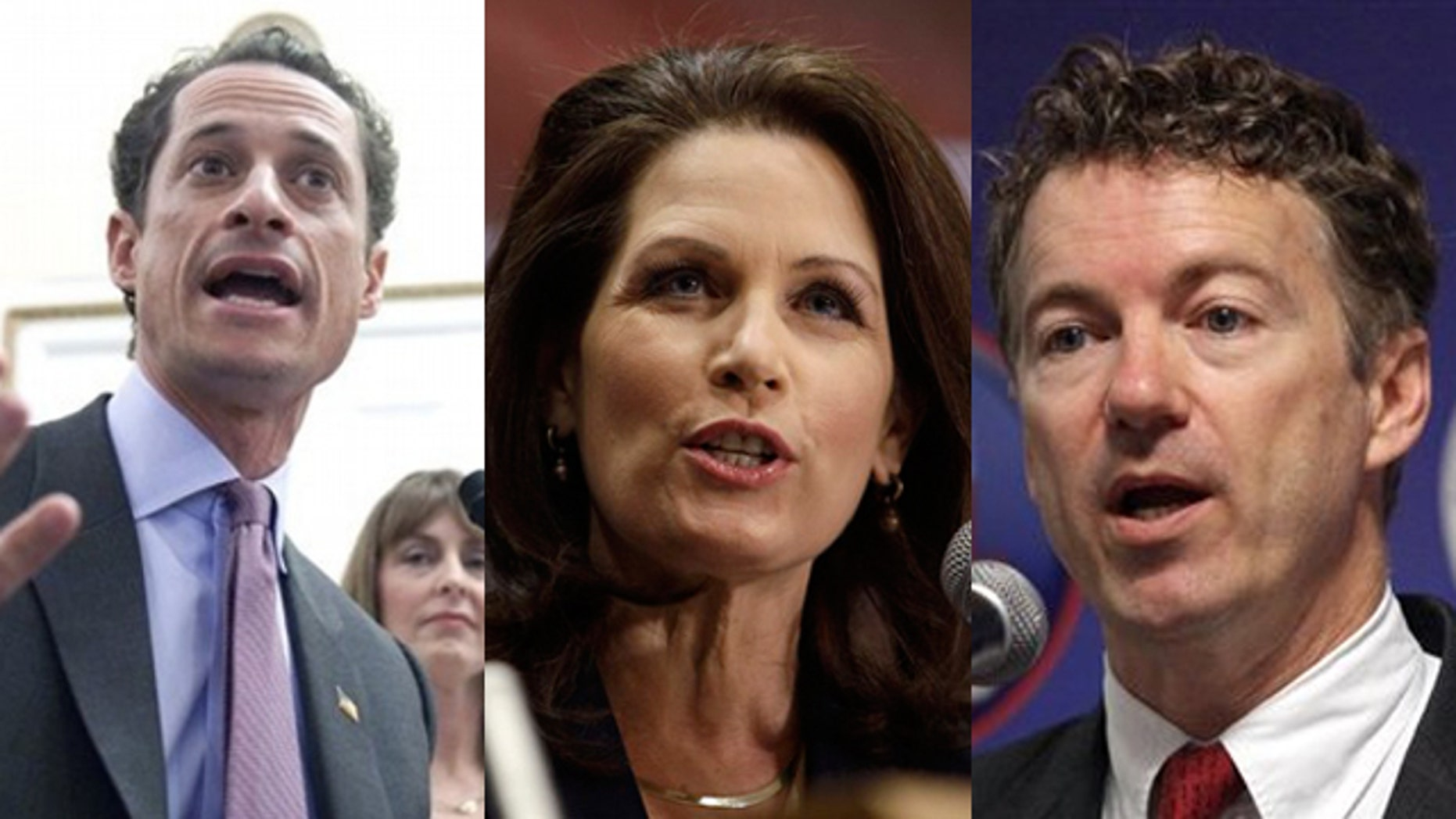 Shown here are Rep. Anthony Weiner, left, Rep. Michele Bachmann, center, and Sen. Rand Paul.
