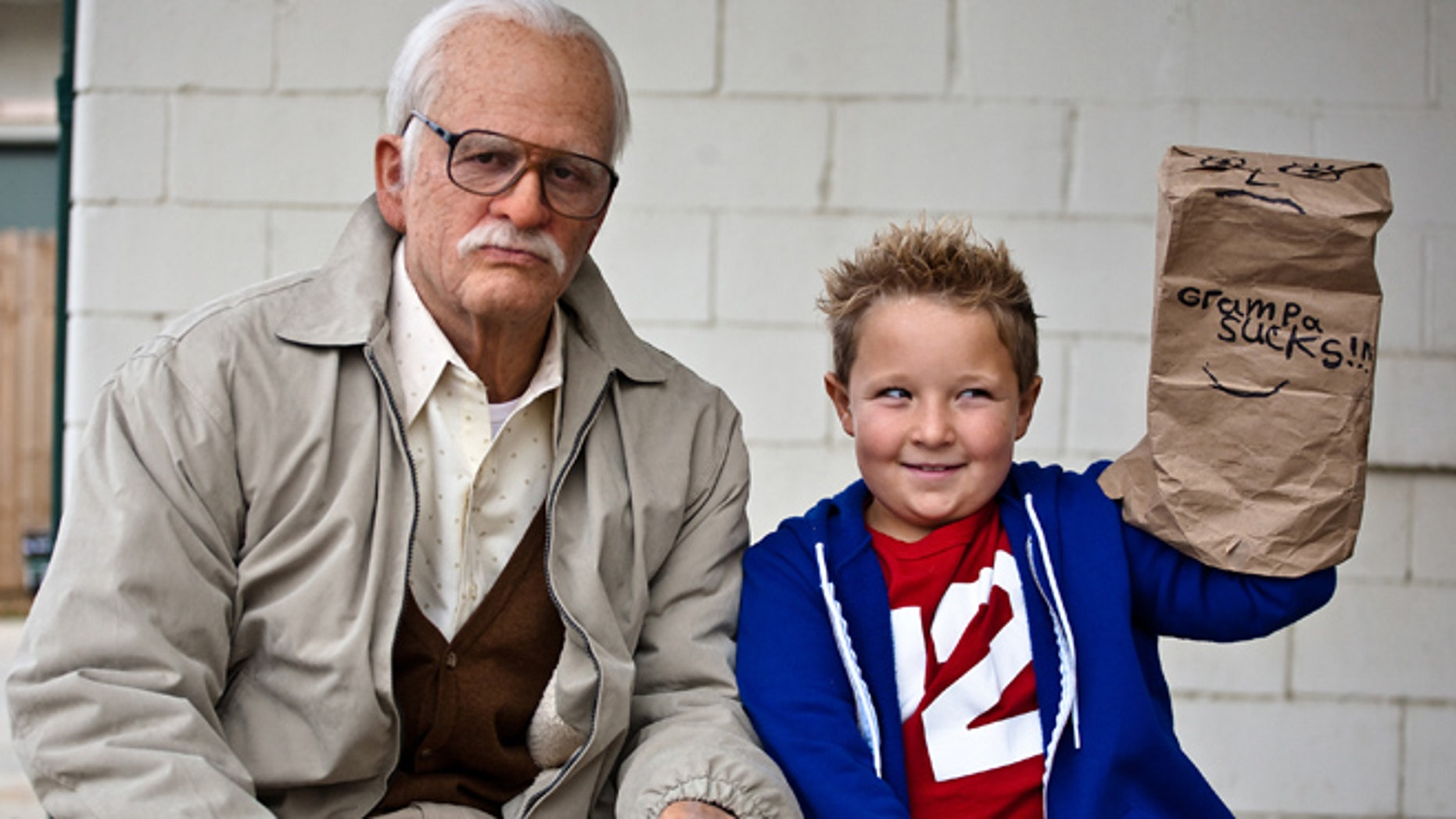 "This photo released by Paramount Pictures shows Johnny Knoxville, left, as Irving Zisman and Jackson Nicoll as Billy in ""Jackass Presents: Bad Grandpa."""