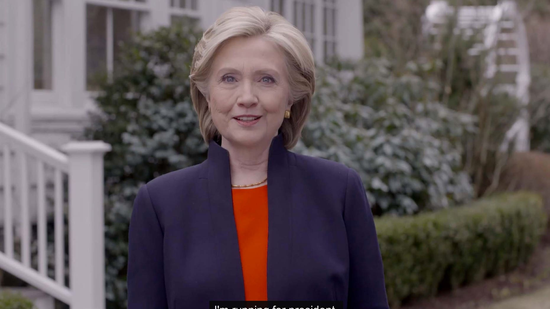 In this image taken from video posted to hillaryclinton.com on Sunday, April 12, 2015, Hillary Rodham Clinton announces her campaign for president. The former secretary of state, senator and first lady enters the race in a strong position to succeed her rival from the 2008 campaign, President Barack Obama. (Hillary For America via AP)