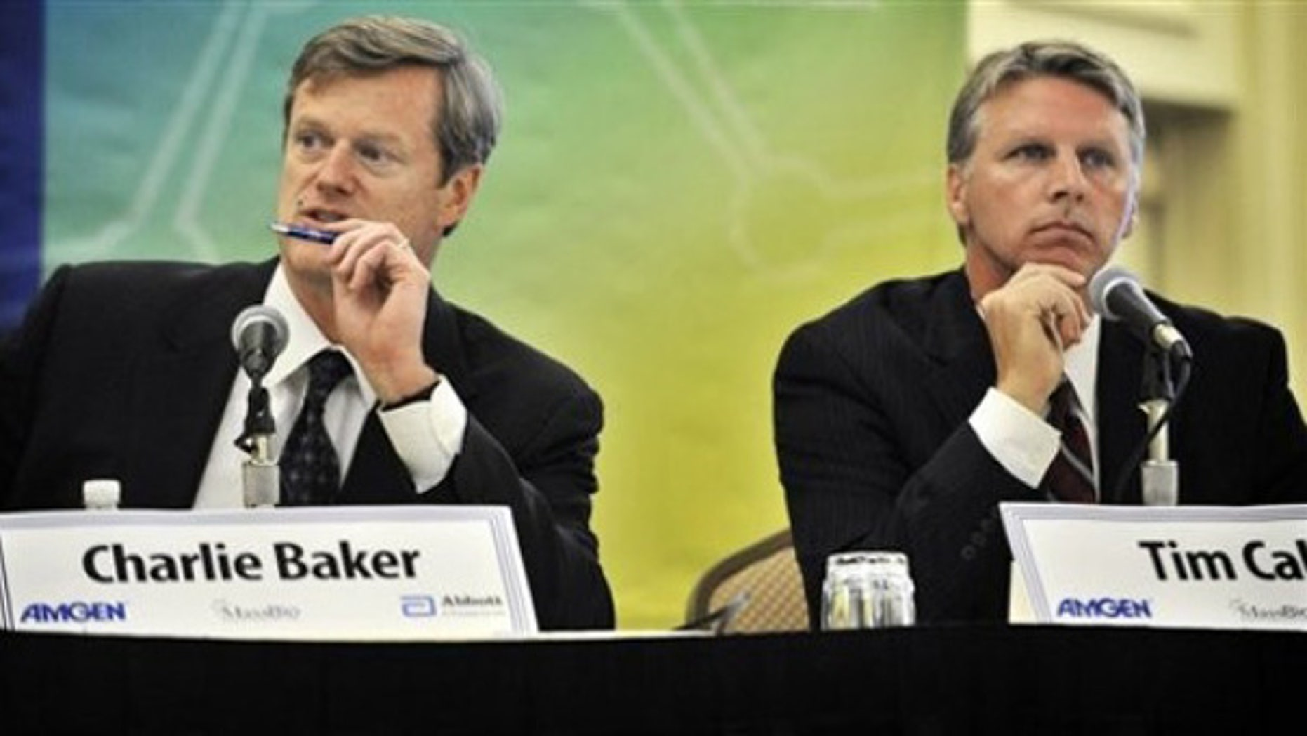 Monday: Gubernatorial candidates Republican Charles Baker and Independent Tim Cahill participate in a candidates' debate In Cambridge, Mass.
