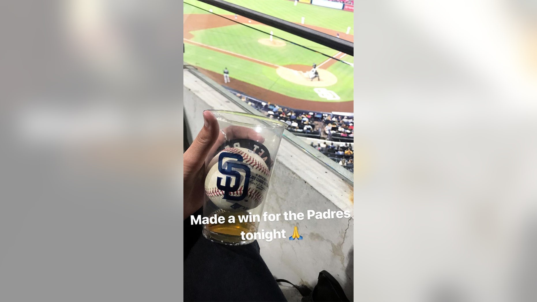 Gabby DiMarco caught the foul ball in her beer cup and then chugged the drink.