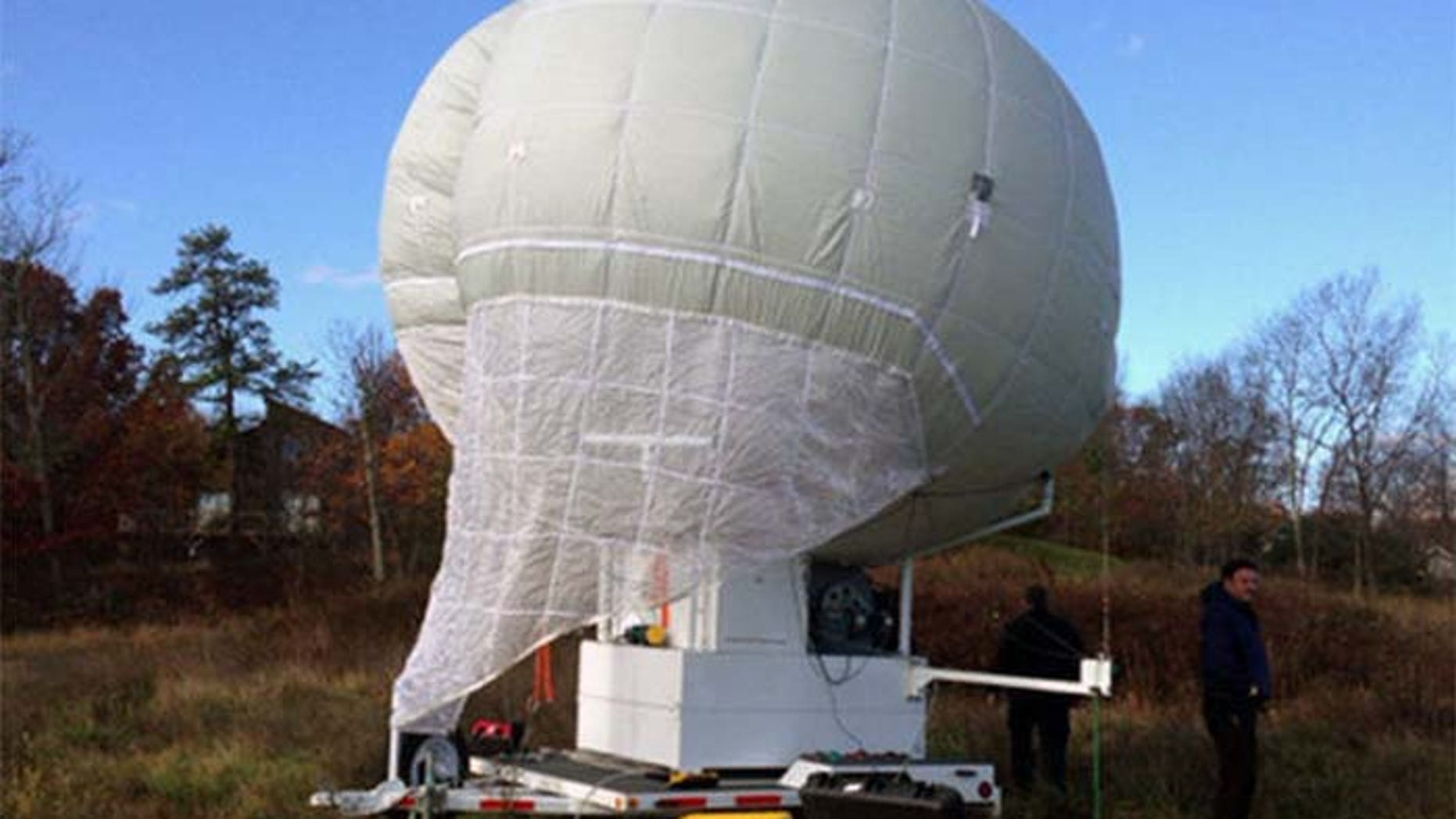 Police hope images shot from this unmanned balloon will help them catch an alleged cop killer. (Courtesy: Pennsylvania State Police)