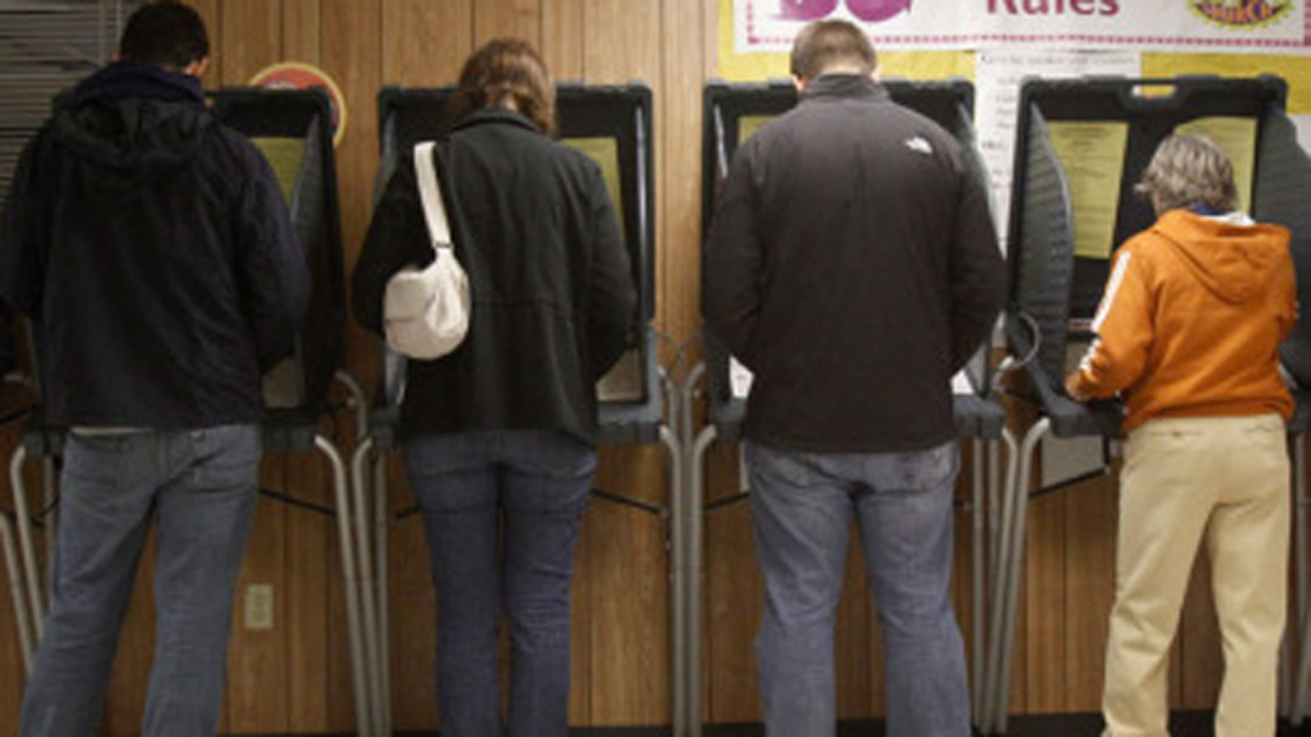 Voters are shown in this Nov. 2, 2010, photo casting ballots in Texas.