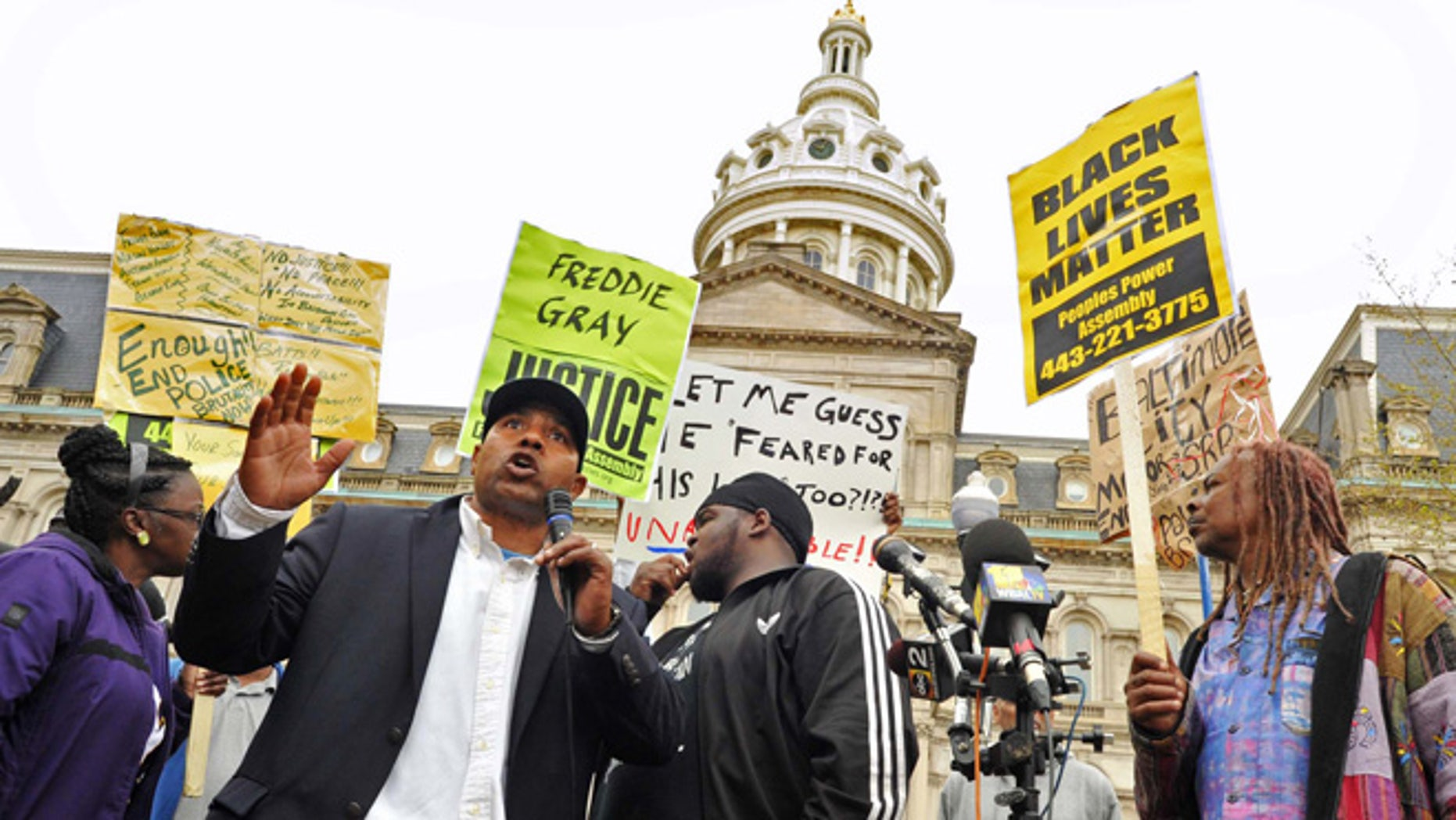 April 20, 2015: Edward Brown speaks at a protest outside City Hall about Freddie Gray in Baltimore.