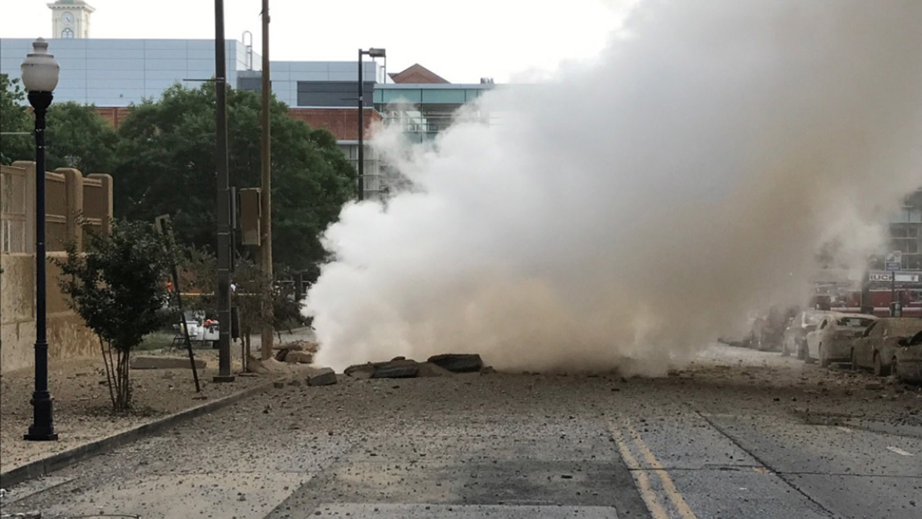 The scene after a steam pipe explosion in Baltimore.