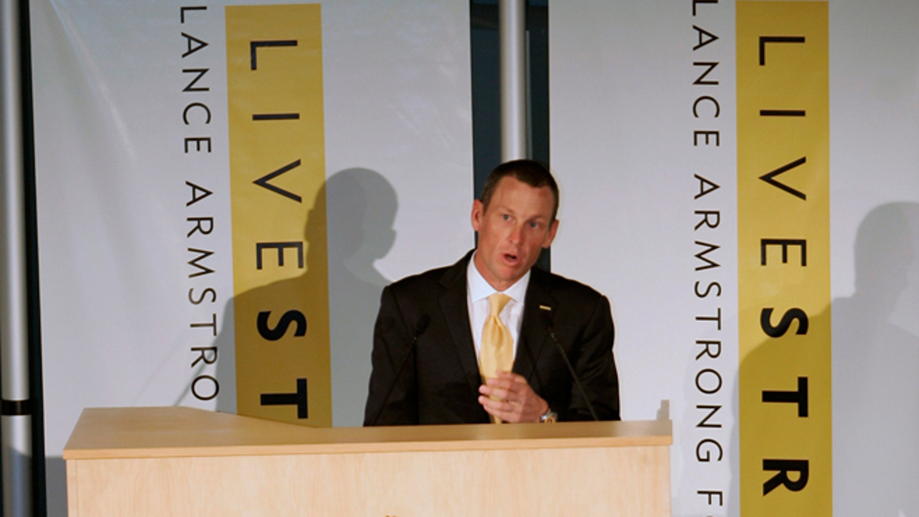 Jan. 19, 2009: This file photo shows Lance Armstrong speaking during the launch of the Livestrong Global Cancer campaign  Royal Adelaide Hospital in Adelaide, Australia.