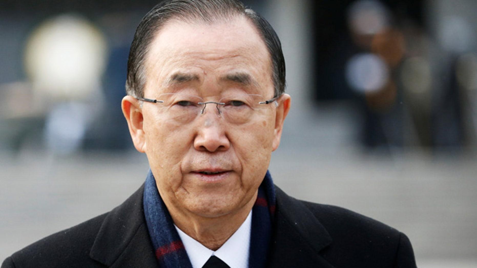 Former U.N. secretary-general Ban Ki-moon leaves after paying a tribute at the natioanl cemetery in Seoul, South Korea, January 13, 2017.  REUTERS/Kim Hong-Ji - RTX2YQGJ