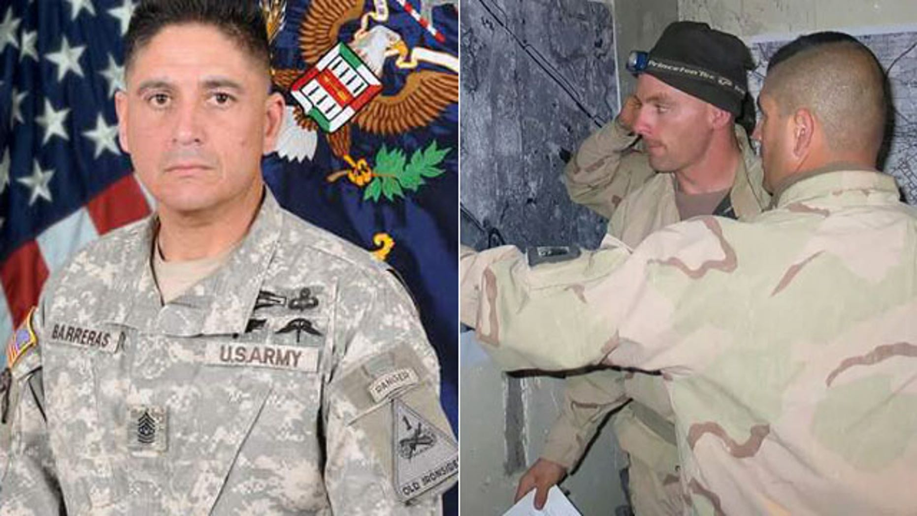 Command Sgt. Maj. Martin R. Barreras in a US Army photograph, left, and in the foreground planning for the Jessica Lynch rescue, right.