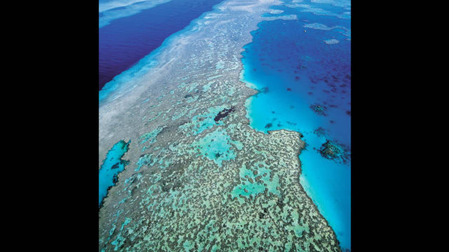 An aerial view of the Great Barrier Reef off Australia's Queensland state.