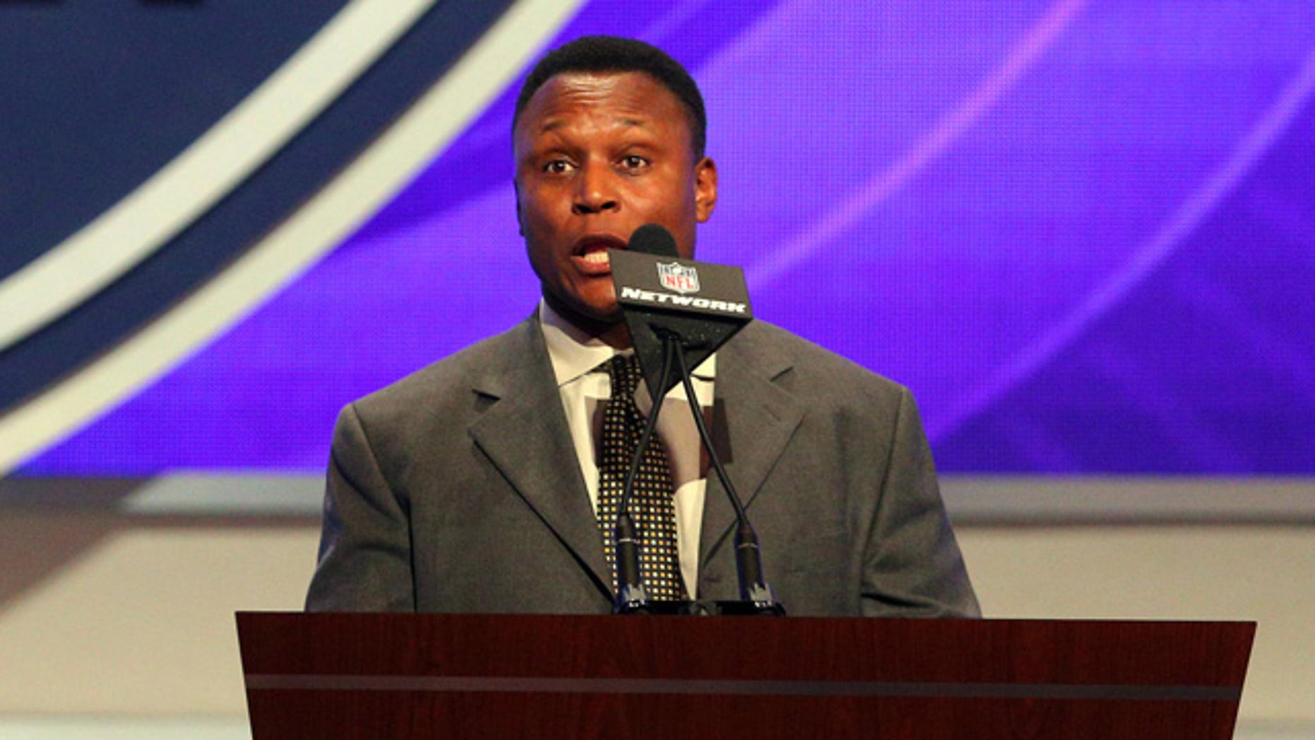 May 8, 2014: Detroit Lions former running back Barry Sanders announces tight end Eric Ebron (North Carolina) as the tenth overall pick in the first round of the 2014 NFL draft by the Detroit Lions during the 2014 NFL draft at Radio City Music Hall.