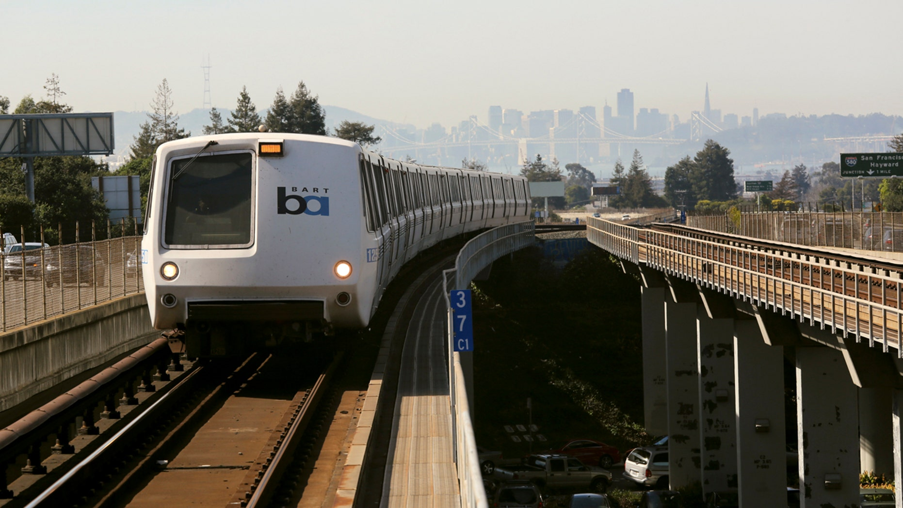 A Bay Area Rapid Transit (BART) train enters the platform area at the Rockridge station in Oakland, California February 12, 2015.