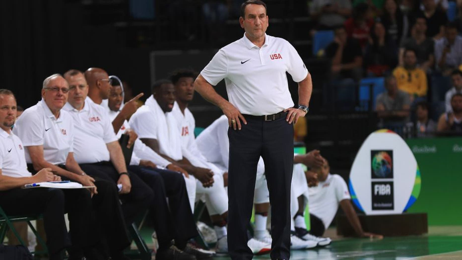 RIO DE JANEIRO, BRAZIL - AUGUST 08: Head coach Mike Krzyzewski of the United States basketball team looks on during the Men's Preliminary Round between the United States and Venezuela on Day 3 of the Rio 2016 Olympic Games at the Carioca Arena 1 on August 8, 2016 in Rio de Janeiro, Brazil. (Photo by Mike Ehrmann/Getty Images)