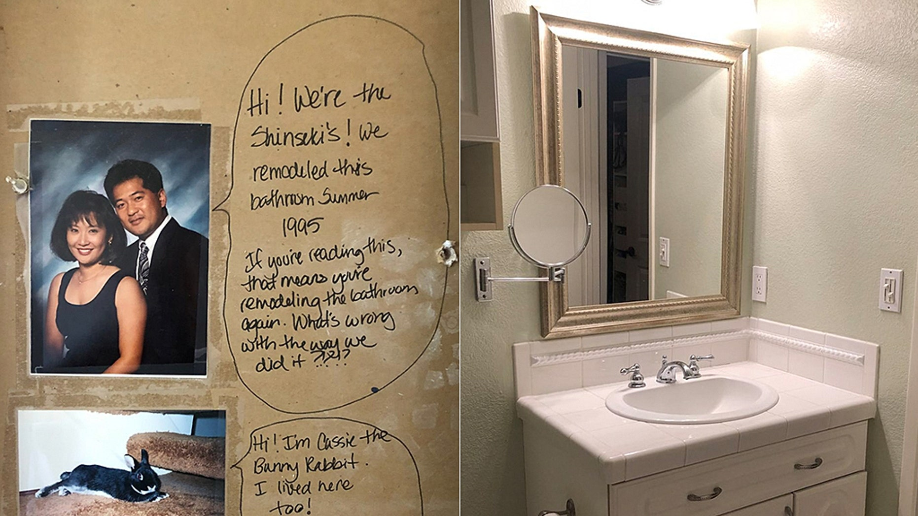 A couple in California found a surprising message (left) in their bathroom wall while remodeling.