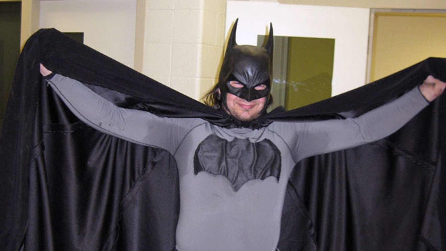 May 11, 2011: In this file photo provided by the Petoskey, Mich., Department of Public Safety shows Mark Williams dressed as Batman, at the Emmet County jail in Petoskey, Mich.  Michigan State Police arrested Williams, 33, in his Batman outfit, for resisting and obstructing police in an investigation Saturday, Sept. 29, 2012 at a personal injury accident. Willams wanted to help look for the driver, but his scent kept confusing a police dog in its search.