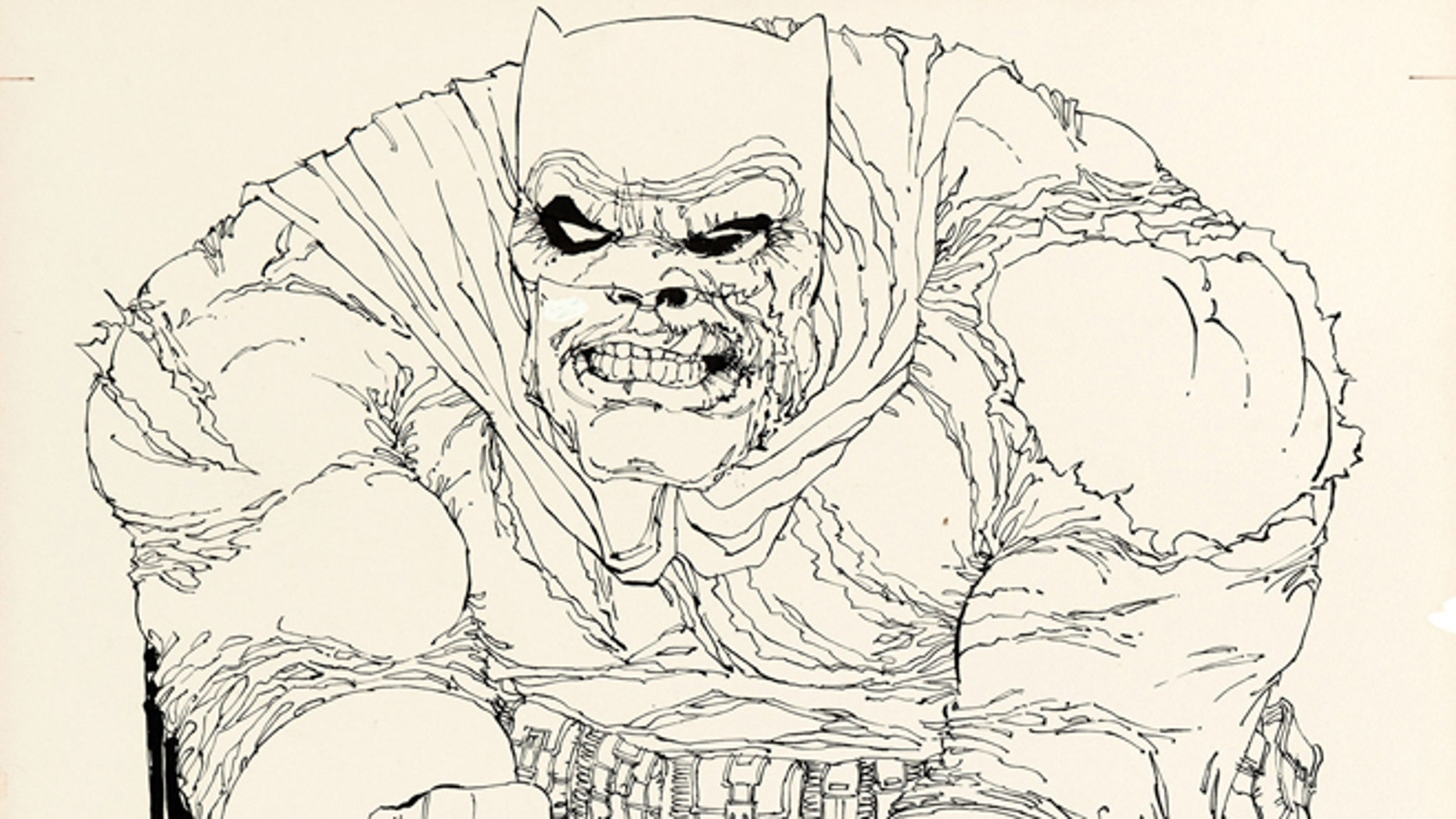 July 2, 2013: This image provided by Heritage Auctions shows the original art drawn by writer/artist Frank Miller for the cover to 'The Dark Knight Returns' No. 2, which is planned to be sold at auction in August 2013. It's the first cover from DC Comics'1986 four-issue 'Dark Knight' miniseries to be sold and is expected to go for more than $500,000. (AP/Heritage Auctions)