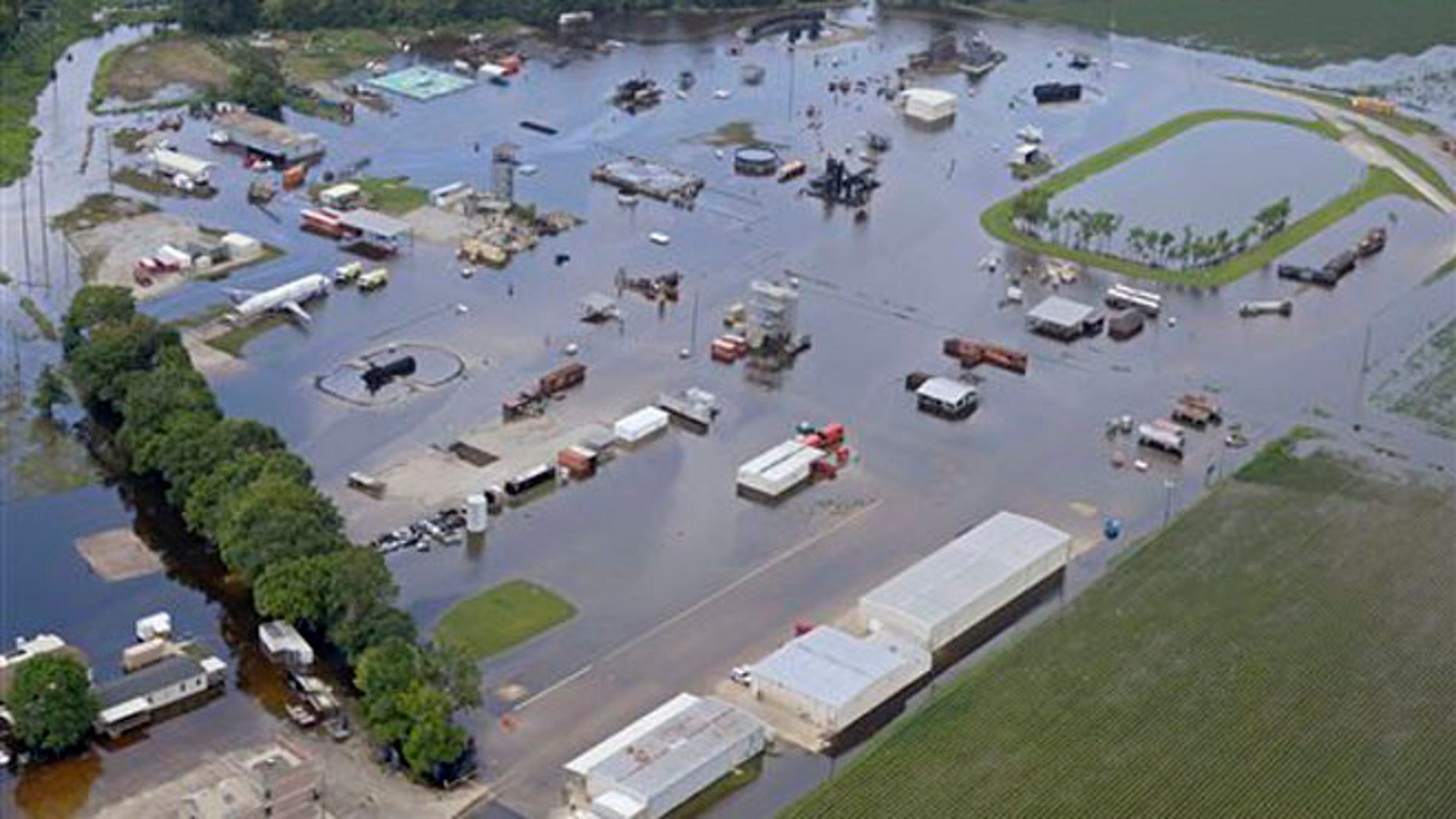 Floodwater covers the site of the LSU Fire and Emergency Training Institute after heavy rains in Baton Rouge on August 16.