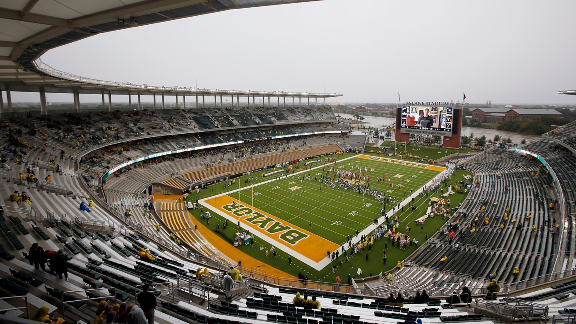 Oct. 24, 2015: A nearly empty McLane Stadium is seen minutes before kickoff between Iowa State and Baylor in an NCAA college football game in Waco, Texas.