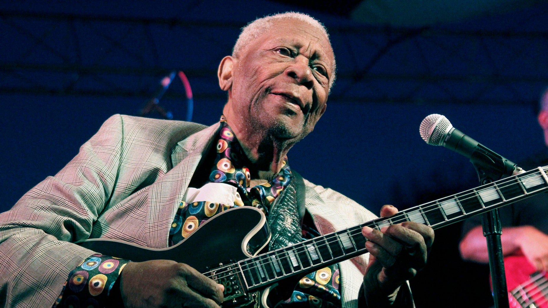 Aug. 22, 2012. B.B. King performs at the 32nd annual B.B. King Homecoming, a concert on the grounds of an old cotton gin where he worked as a teenager in Indianola, Miss.