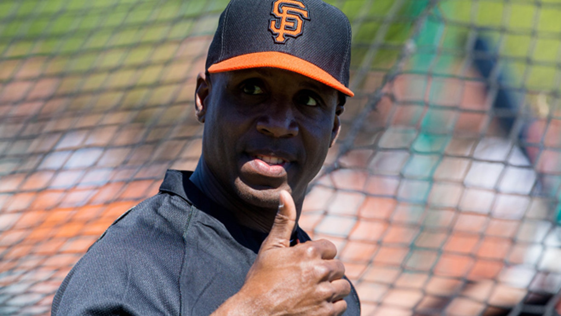 FILE 2014: Former outfielder Barry Bonds at batting practice prior to a game at Scottsdale Stadium.