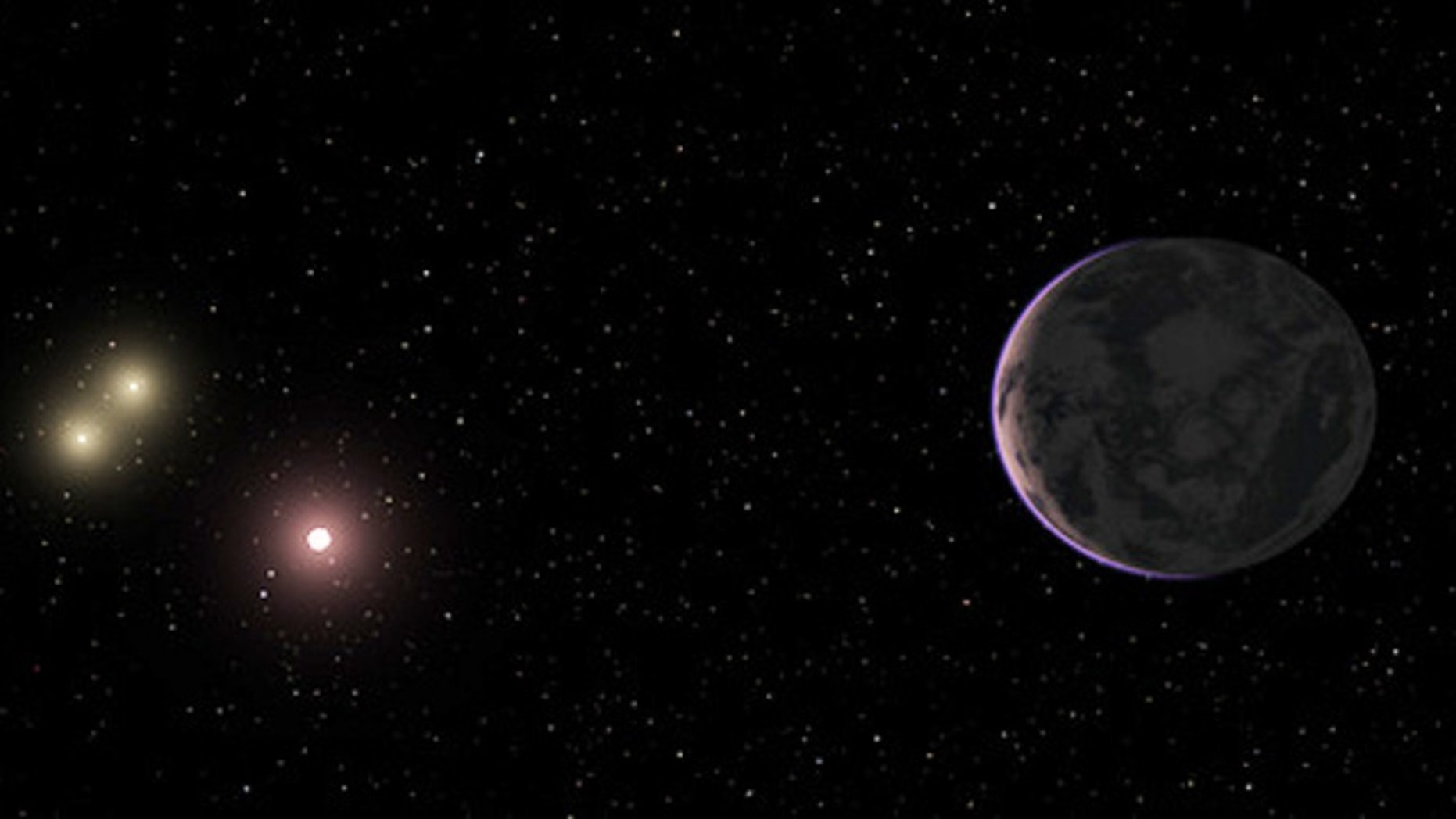 An artist's conception of the alien planet GJ 667Cc, which is located in the habitable zone of its parent star.