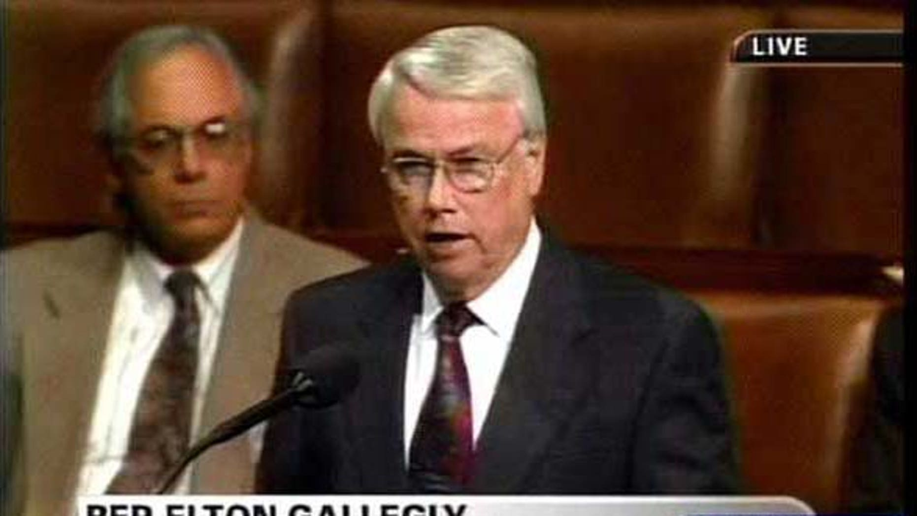 """NA.Excerpts.3.  Congressman Elton Gallegly (R-Simi Valley) gives his views on the House resolution today.  Congress debates the H.J. 114 Iraq Resolution.  Authorizes military force to defend the U.S. against """"the contin uing threat posed by Iraq."""""""