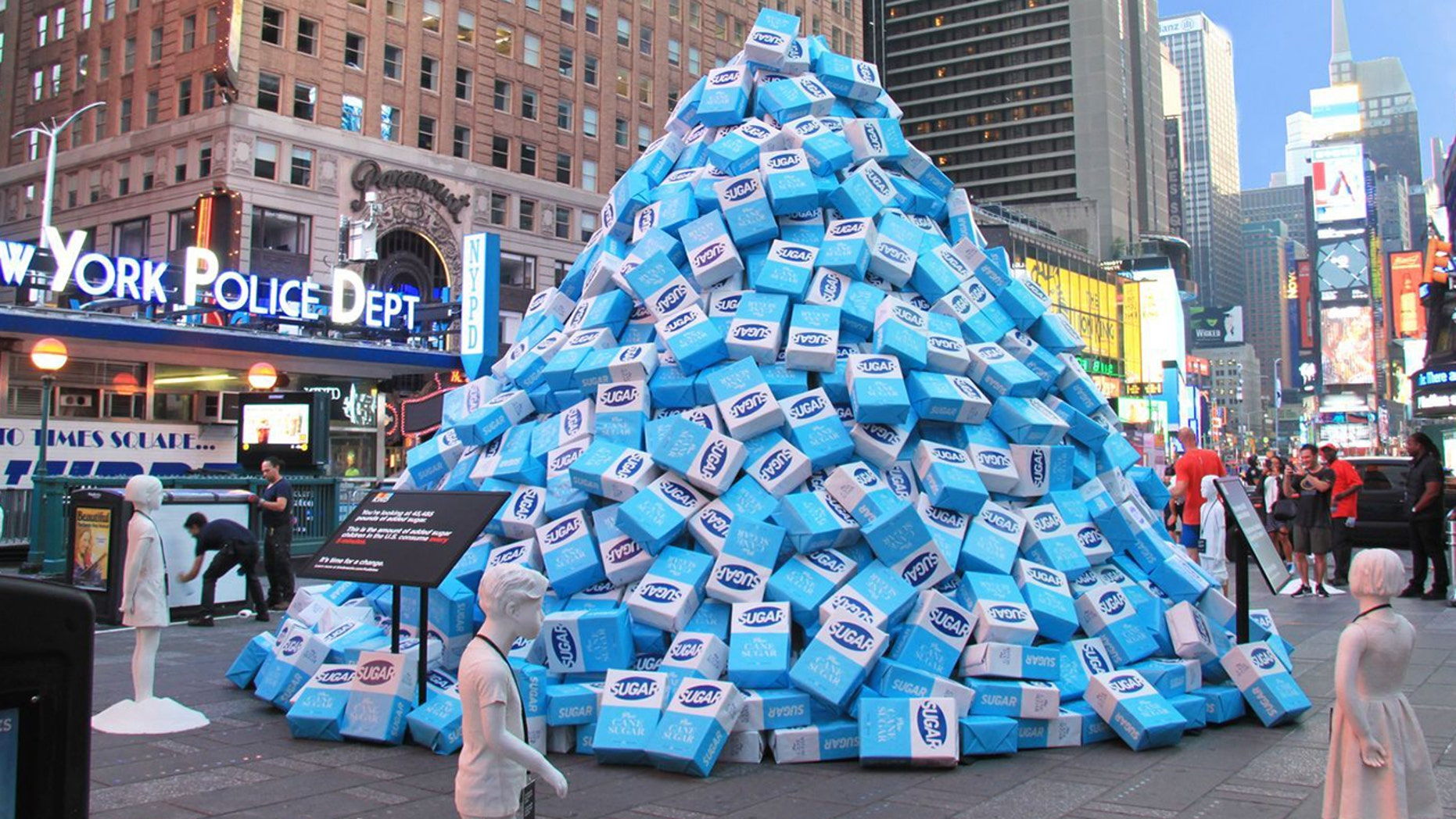 Kind Snacks installed a display in Times Square featuring 50,000 pounds of sugar