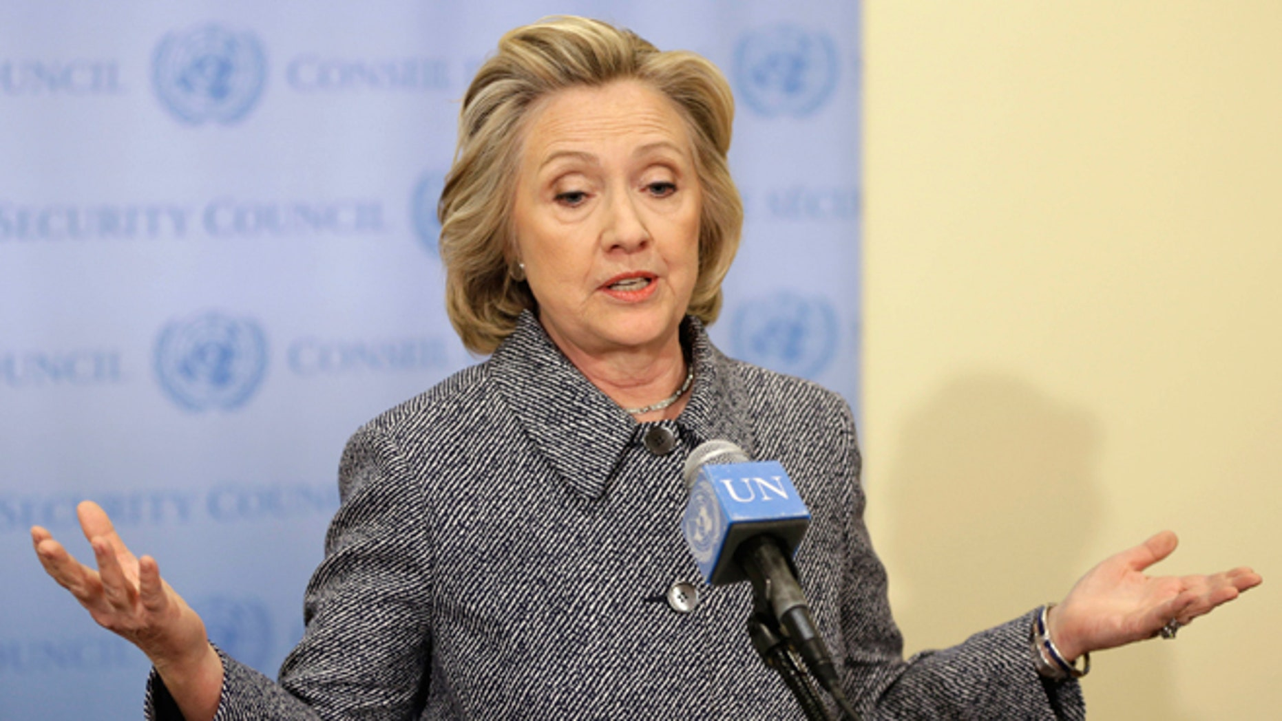 """March 10, 2015: Hillary Rodham Clinton speaks to the reporters at United Nations headquarters. Clinton conceded Tuesday that she should have used a government email to conduct business as secretary of state, saying her decision was simply a matter of """"convenience."""""""
