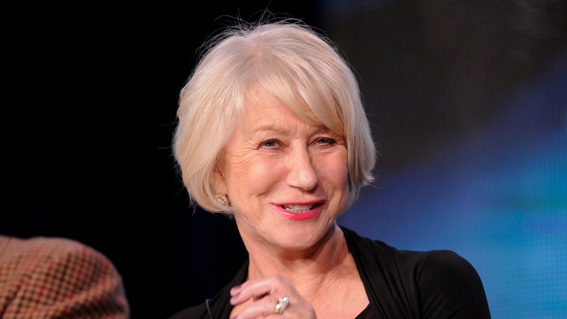 """British actress Helen Mirren takes part in a panel discussion of HBO's """"Phil Spector"""" during the 2013 Winter Press Tour for the Television Critics Association in Pasadena, California January 4, 2013."""