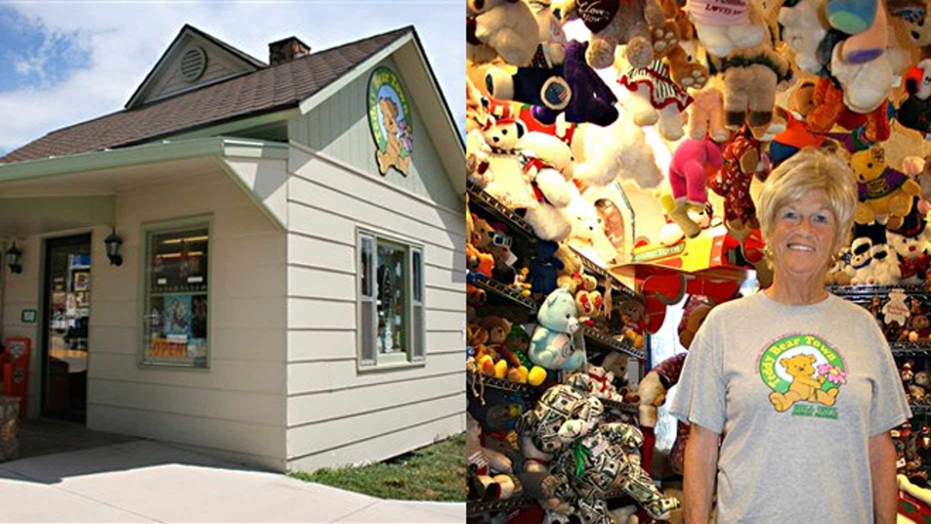 Jackie Mile and her teddy bears Teddy Bear Town in Hill City, S.D.