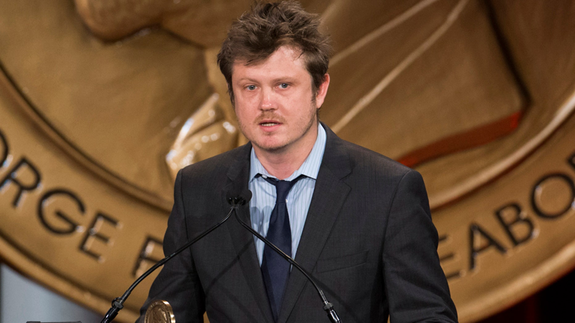 """""""House of Cards'"""" Beau Willimon addresses the crowd after the show won a Peabody Award in New York May 19, 2014."""
