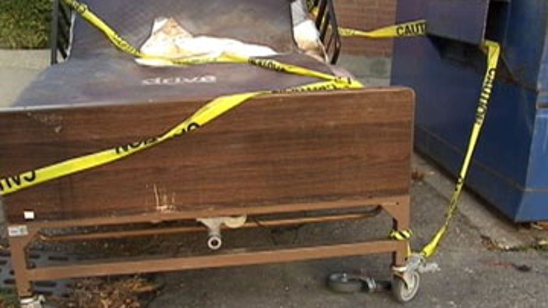 This undated photo shows the alleged bed the victim was found in.