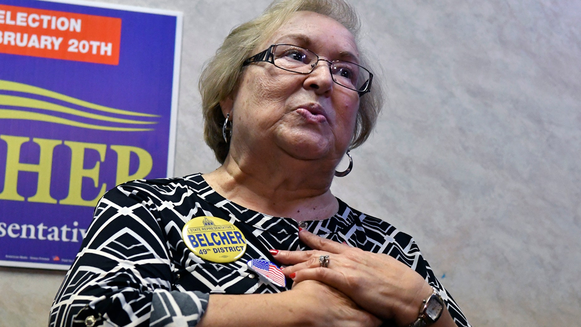 Democrat Linda Belcher thanks her supporters following her victory in Tuesday's special election.