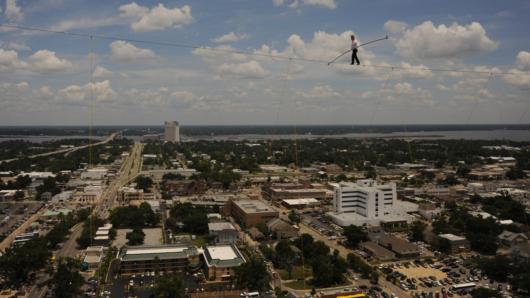 June 21: Comic and daredevil performer Bello Nock walks across a tightrope suspended 32 stories high between spans of the Beau Rivage Resort & Casino in Biloxi, Miss.