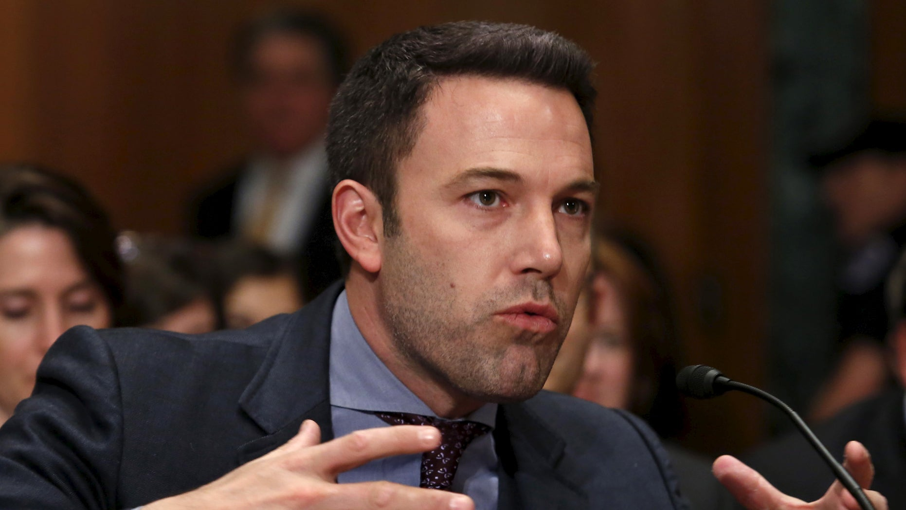March 26, 2015. Ben Affleck, actor, filmmaker and founder of the Eastern Congo Initiative, testifies before a Senate Appropriations State, Foreign Operations and Related Programs Subcommittee hearing on Capitol Hill in Washington.