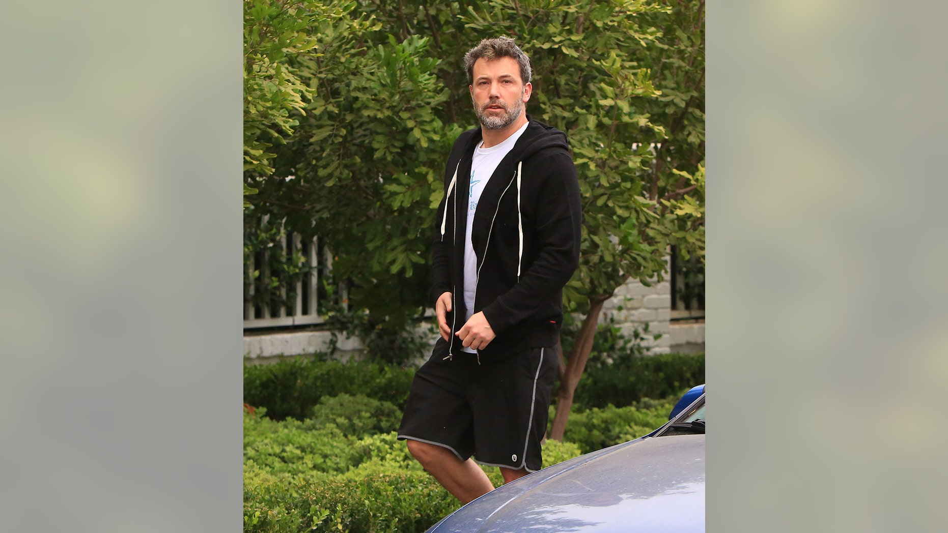 Affleck outside of his California home on Tuesday, reportedly after working out with his trainers.