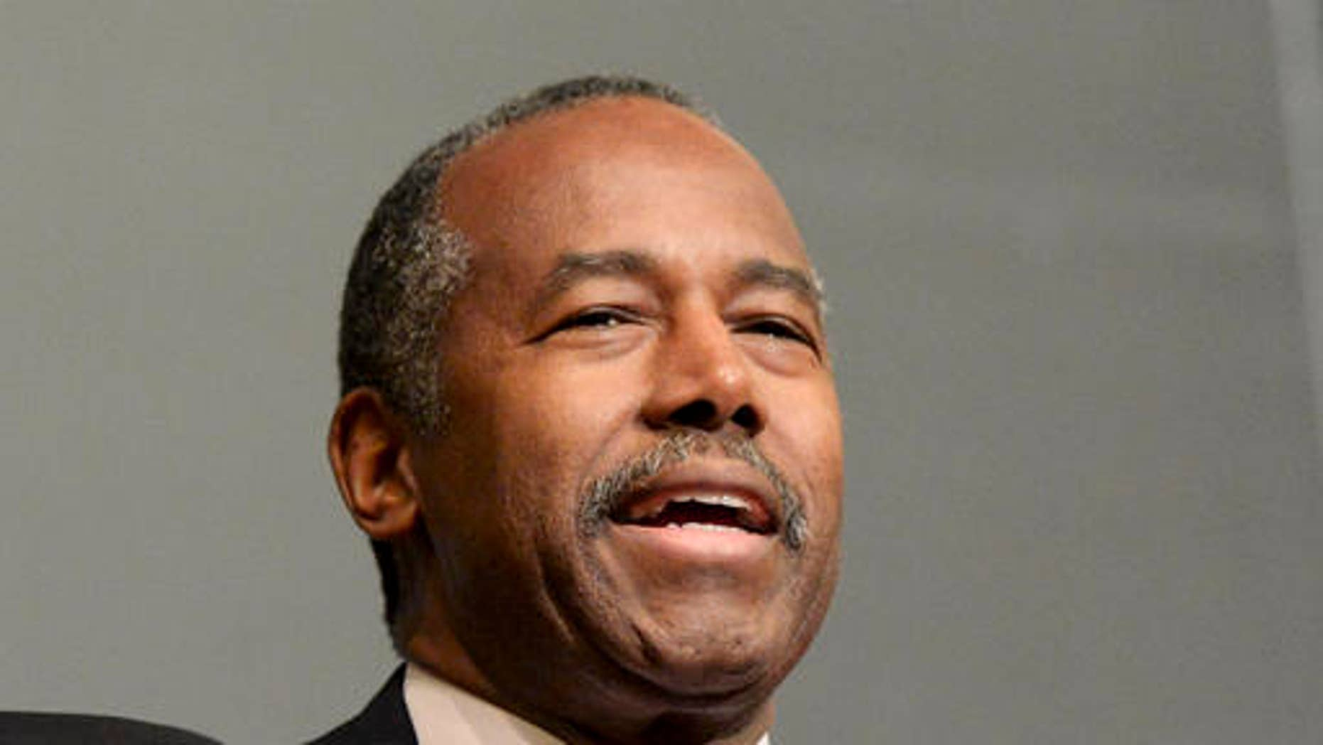 Ben Carson, speaks at Yale, as a guest of the William F. Buckley Jr. Program, in New Haven, Conn. in December.