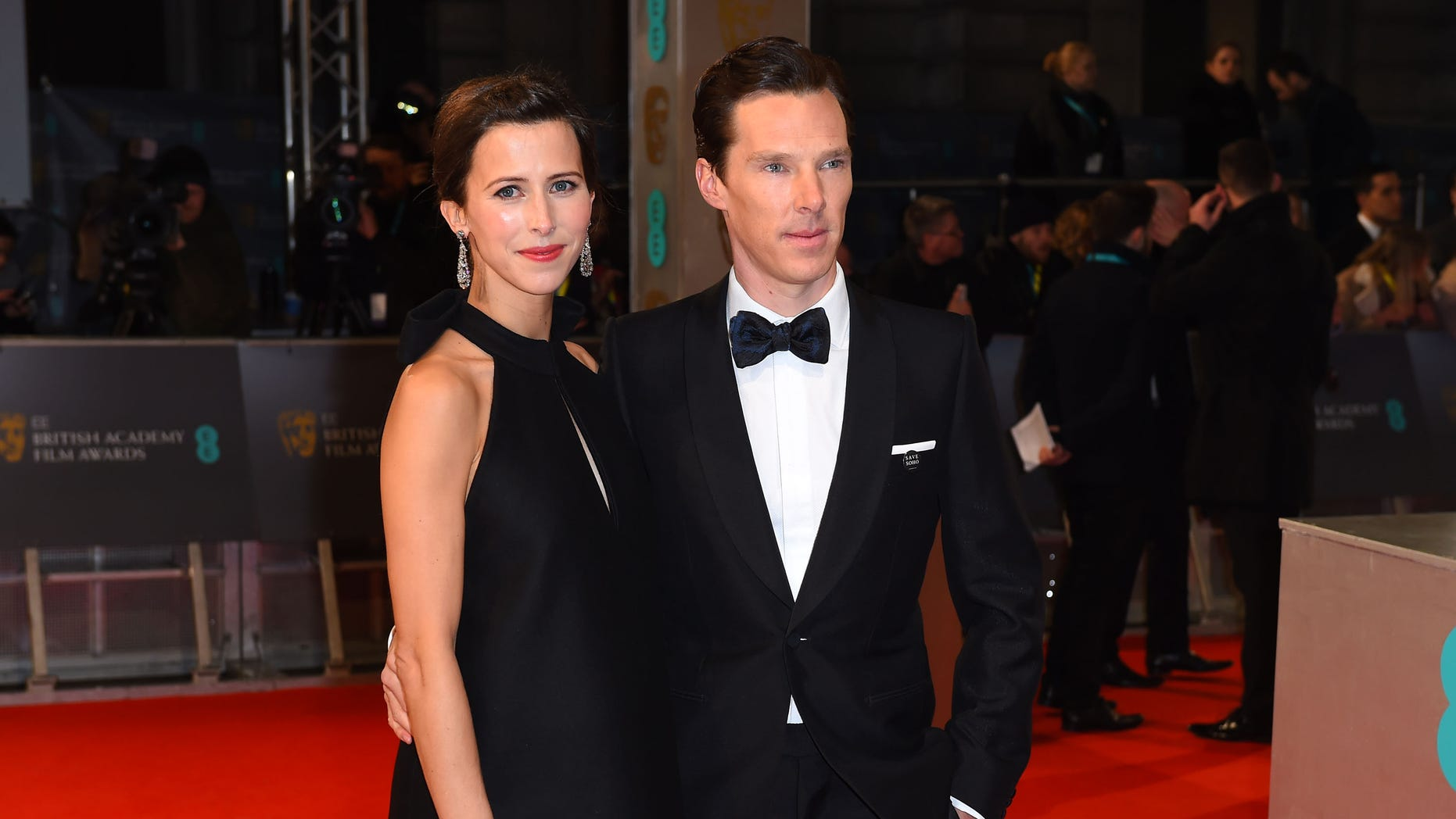 Feb. 8, 2015. Sophie Hunter, left, and Benedict Cumberbatch arrive for the British Academy Film and Television Awards 2015 at the Royal Opera House in London.