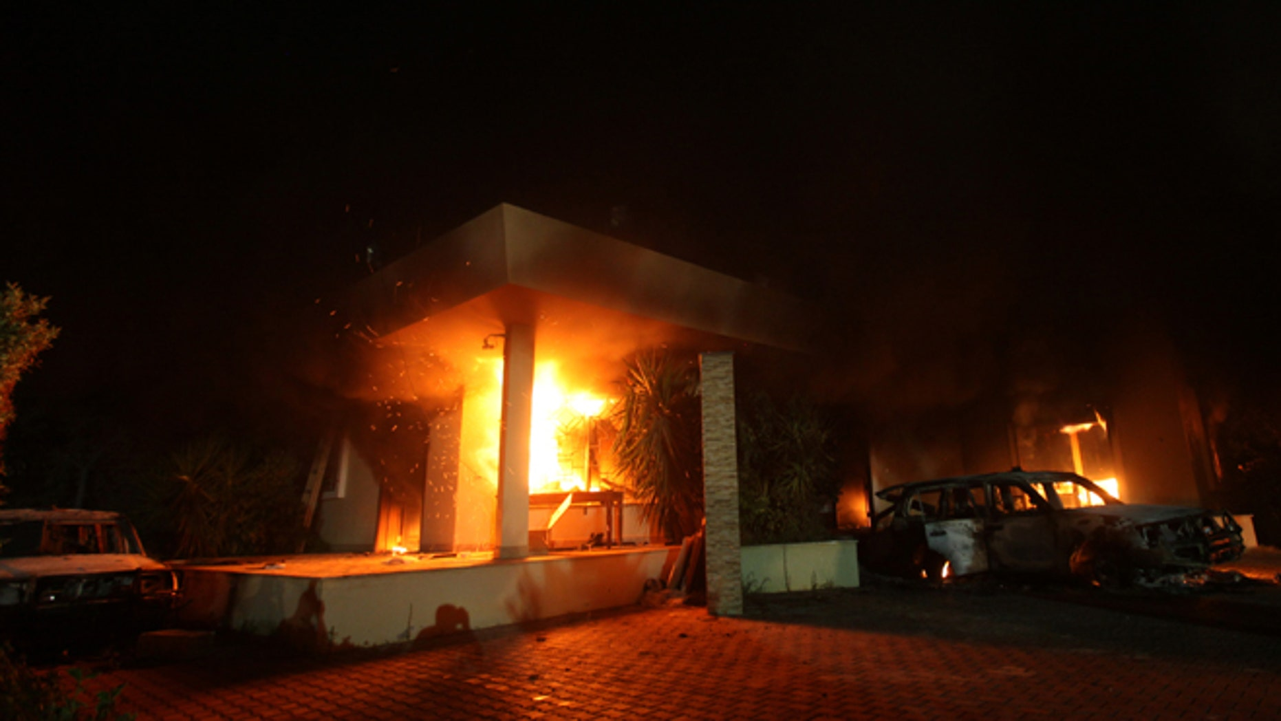 Sept. 11, 2012: The U.S. Consulate in Benghazi is seen in flames during a terrorist attack that claimed the lives of four Americans.
