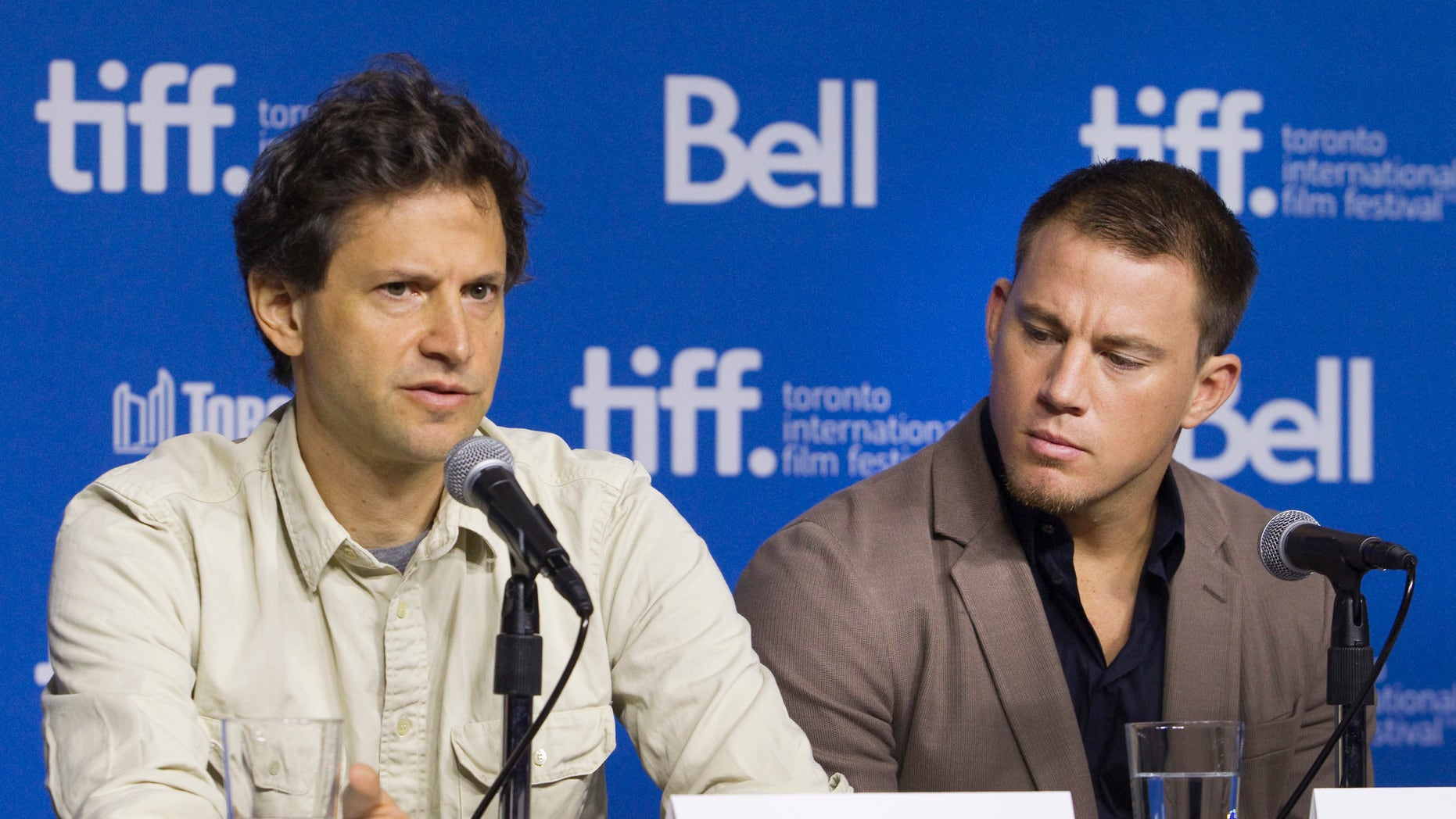 "September 8, 2014.  Channing Tatum (R) and director Bennett Miller attend a news conference to promote the film ""Foxcatcher"" at the Toronto International Film Festival (TIFF) in Toronto."