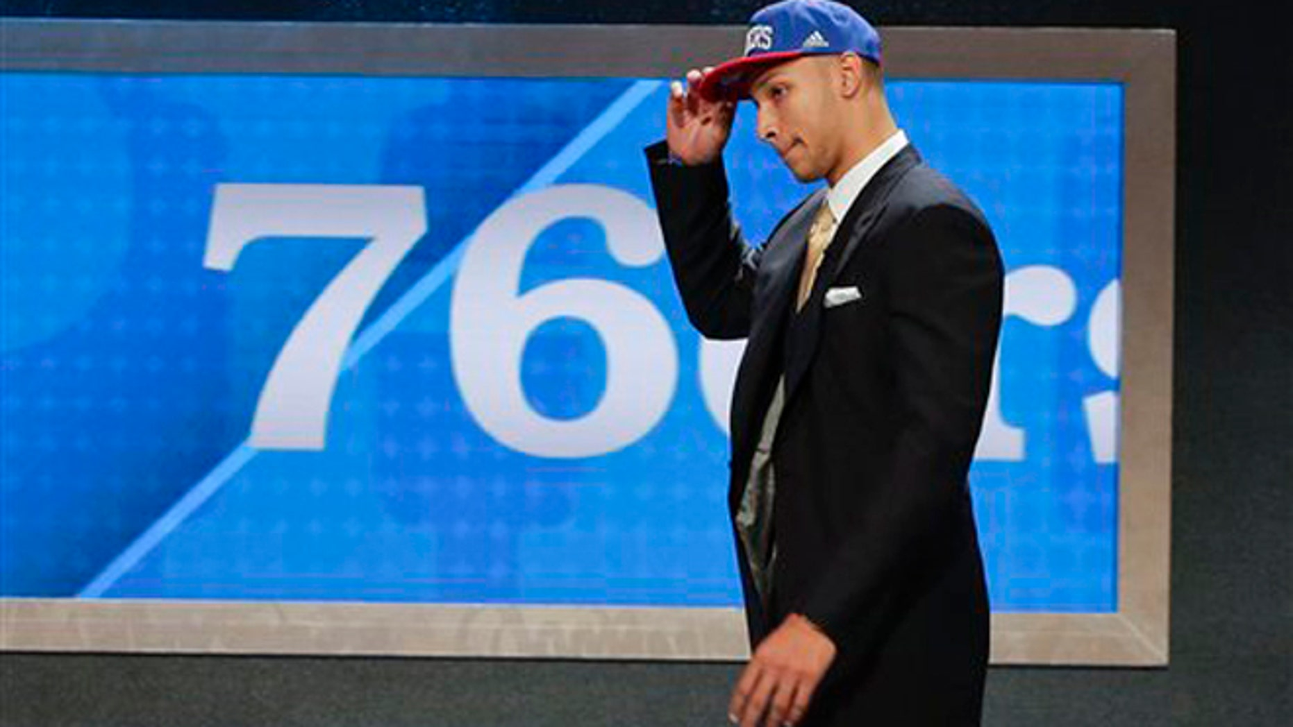 LSU's Ben Simmons walks up on stage after being selected as the top pick by the Philadelphia 76ers during the NBA basketball draft, Thursday, June 23, 2016, in New York. (AP Photo/Frank Franklin II)