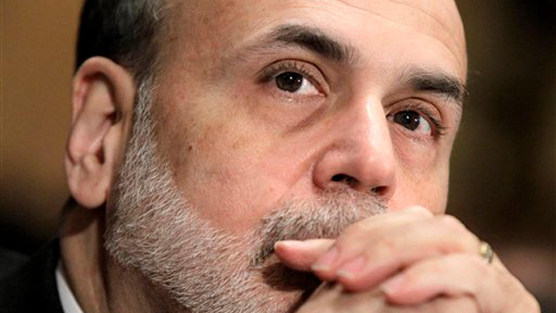 In this Feb. 17 file photo, Federal Reserve Chairman Ben Bernanke testifies on Capitol Hill.