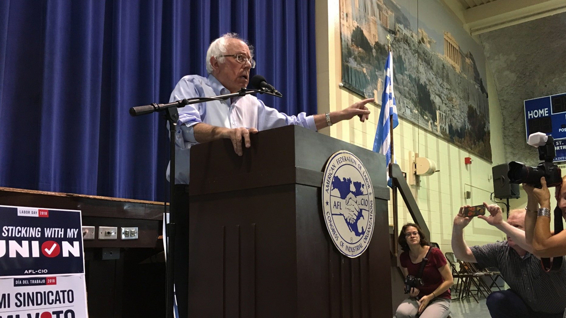 "In his speech, Vermont Sen. Bernie Sanders blasted President Trump, saying: ""We have a president, and I say this with no joy in my heart, who is a pathological liar."""