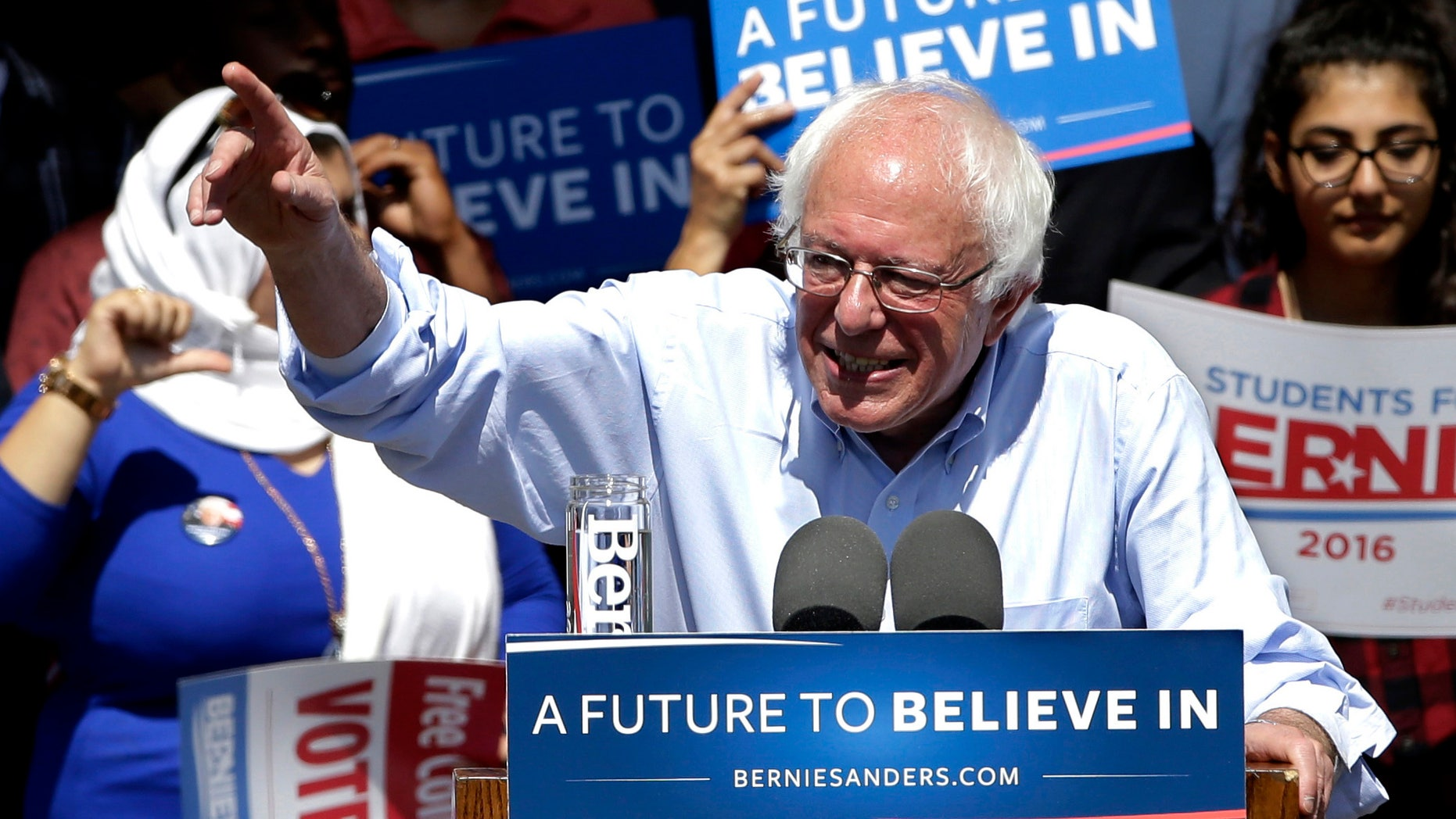 Presidential candidate Sen. Bernie Sanders on Tuesday, May 10, 2016, in Stockton, Calif.