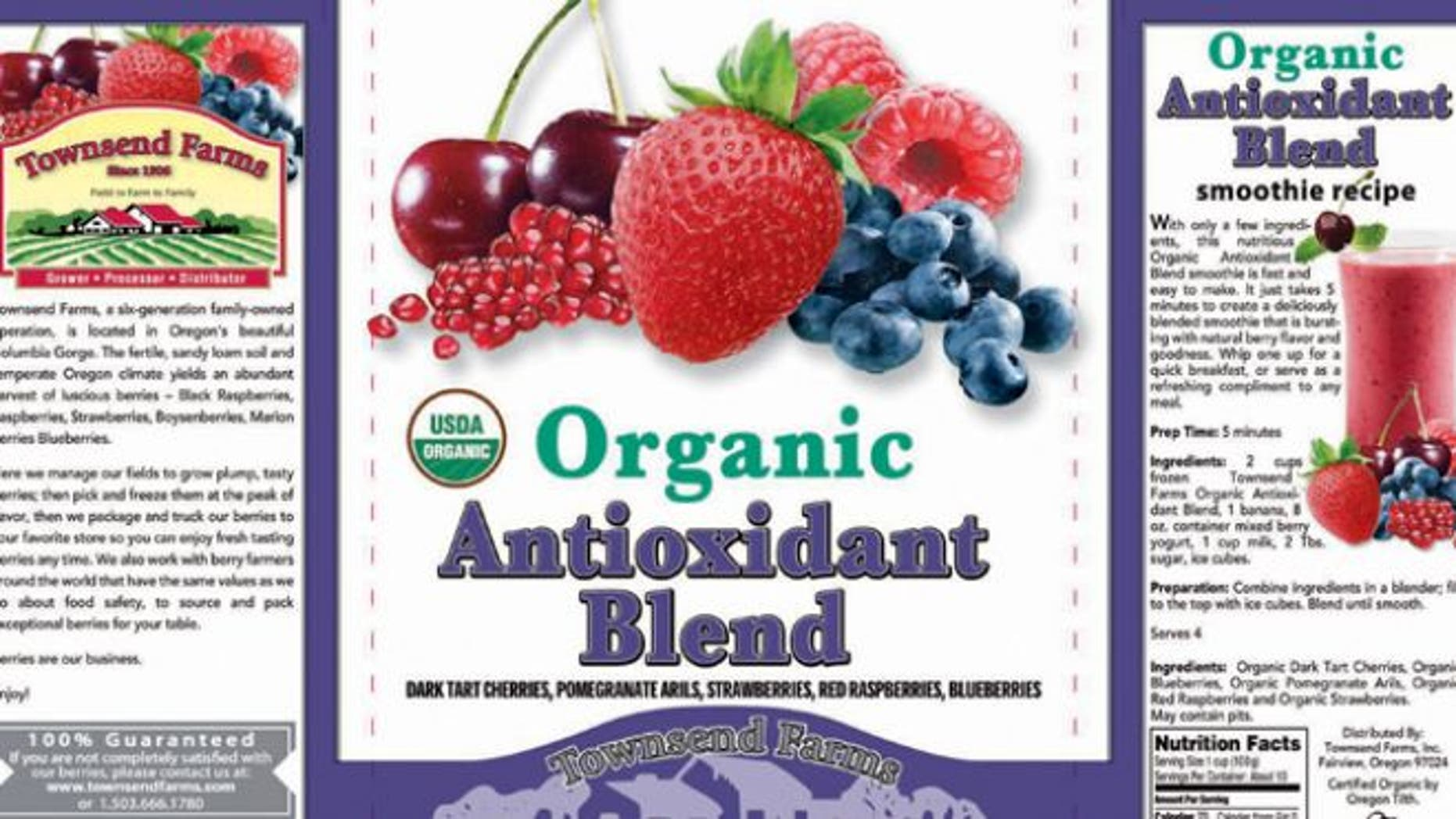 The label of Townsend Farms of Fairview, Ore., Organic Antioxidant Blend, packaged under the Townsend Farms label at Costco and under the Harris Teeter brand at those stores.