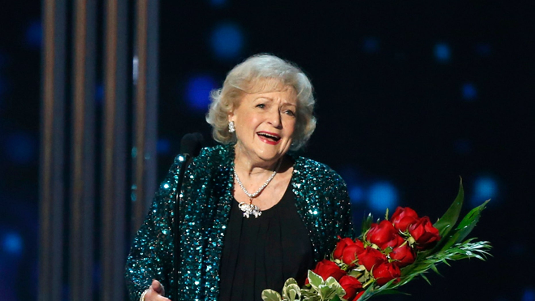 January 7, 2015. Actress Betty White accepts the favorite TV Icon award during the 2015 People's Choice Awards in Los Angeles, California.