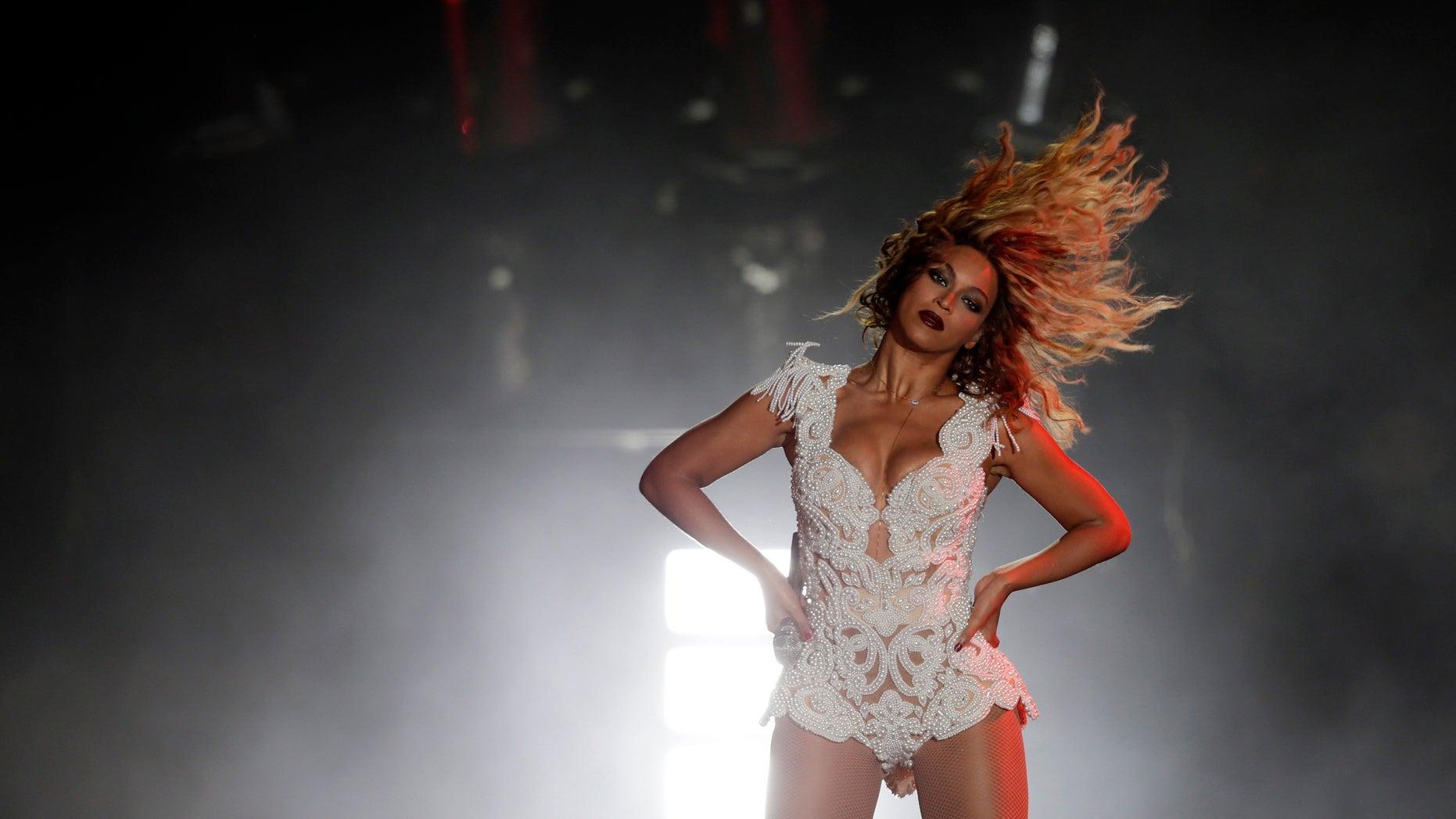 September 14, 2013. Singer Beyonce performs at the Rock in Rio Music Festival in Rio de Janeiro.