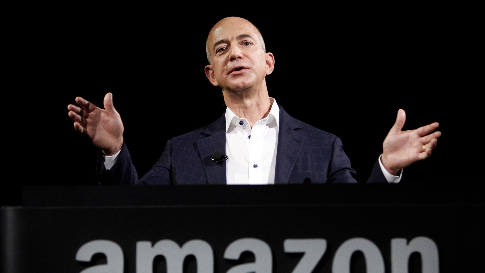 Amazon founder and CEO Jeff Bezos speaks in Santa Monica, Calif., on Sept. 6, 2012.