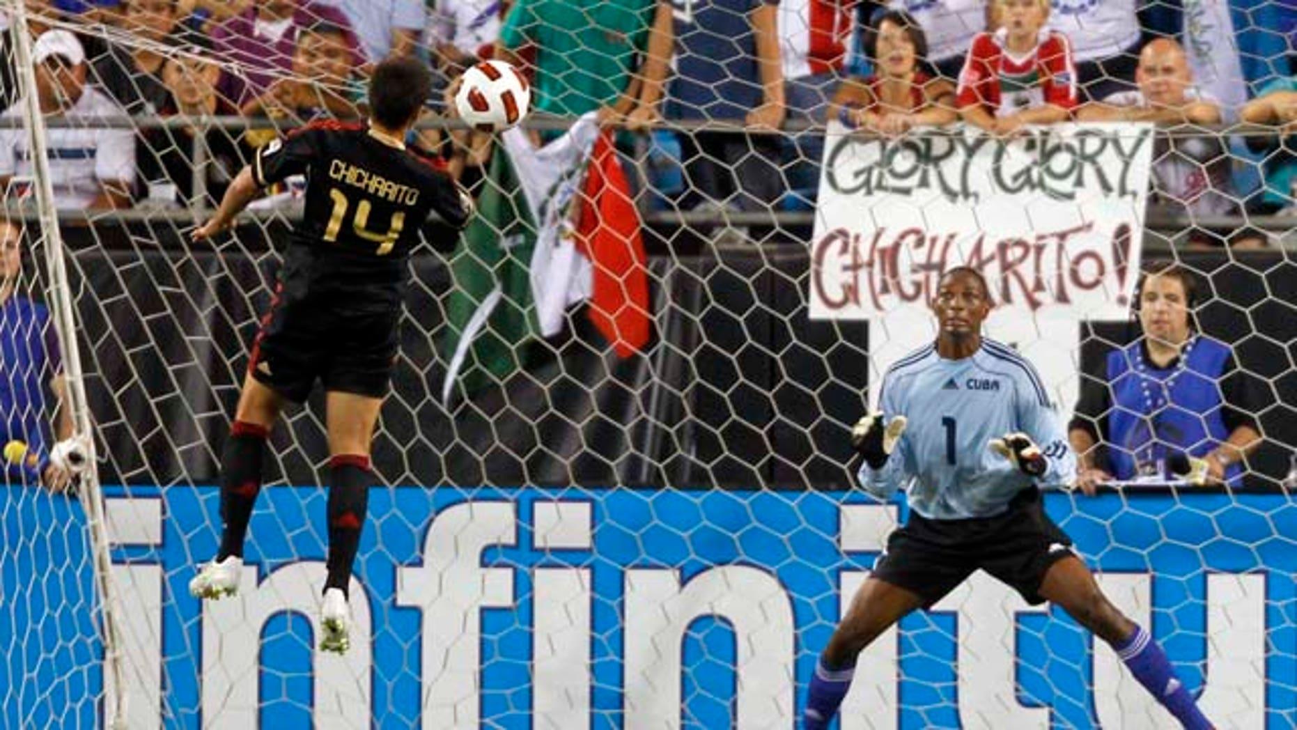 "Javier ""Chicharito"" Hernandez of El Tri scoring a goal against Cuba on June 9, 2011."