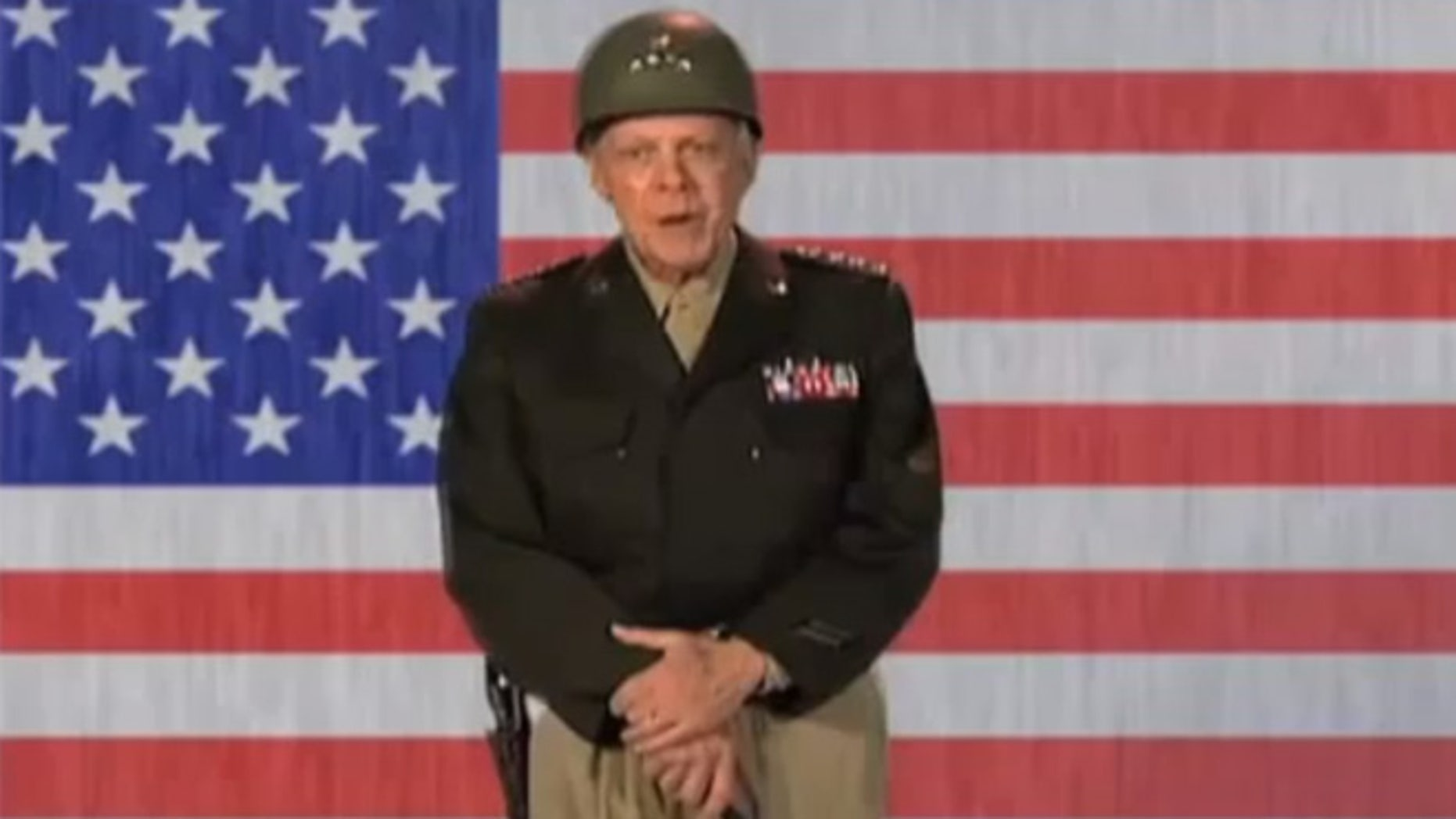 Shown here is an image from the 'Patton' parody produced for a Veterans Affairs department conference in 2011.
