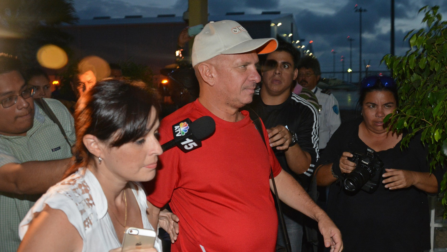 Hugo Carvajal arrives at the Queen Beatrix International Airport in Oranjestad, Aruba,  Sunday July 27, 2014.